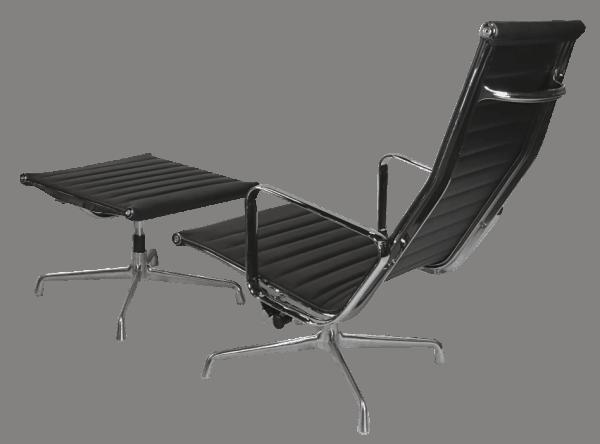 Eames EA 124 Lounge Chair + EA 125 Ottoman Zwart Leer
