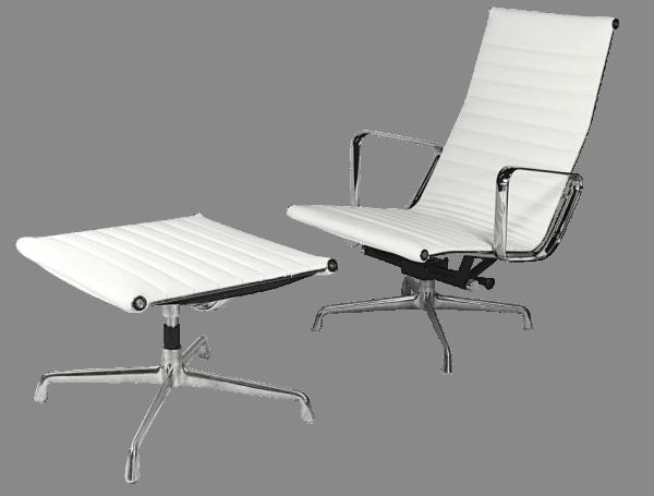 Eames EA 124 Lounge Chair + EA 125 Ottoman Wit Leer