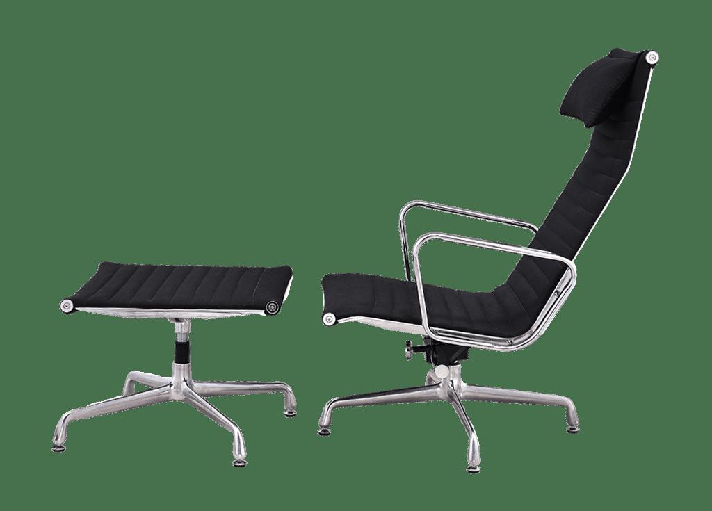 Eames EA 124 Lounge Chair + EA 125 Ottoman Zwart Linnen