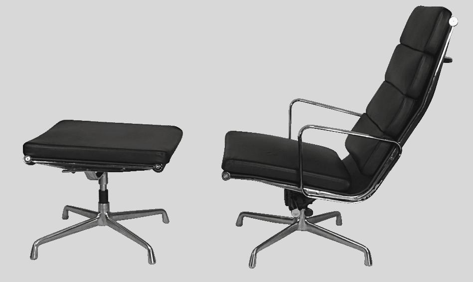 Eames EA 222 Softpad Lounge Chair + EA 223 Ottoman Zwart Leer