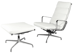 Eames EA 222 Softpad Lounge Chair + EA 223 Ottoman Wit Leer
