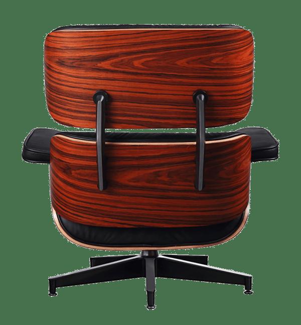 Eames Lounge Chair Zwart Leer, Palissander Schalen