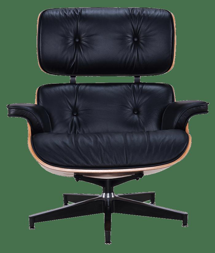 Eames Lounge Chair Zwart Leer, Walnoot Schalen