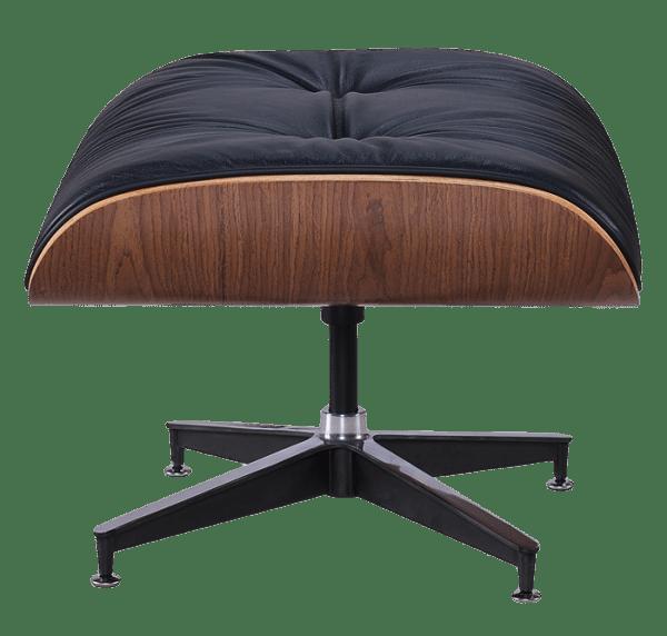 Eames Lounge Chair Ottoman / Hocker Zwart Leer, Walnoot Schaal