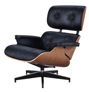 Eames Lounge Chair Zwart Leer, Walnoot Schalen