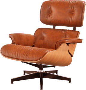 Eames Lounge Chair Cognac Bruin Leer, Essen Schalen