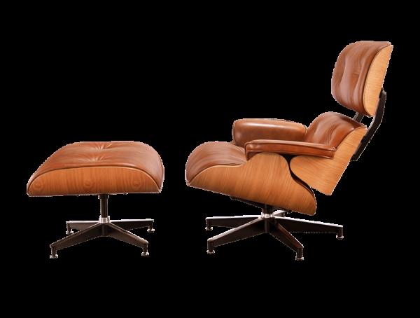 Eames Lounge Chair Cognac Bruin Leer, Essen Schalen