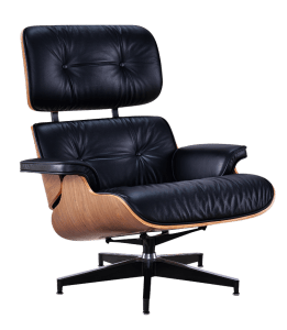 Eames Lounge Chair XL Zwart Leer, Walnoot Schalen
