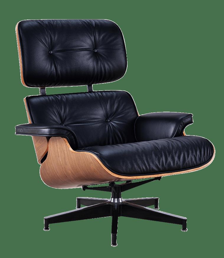 Eames replica lounge chair XL zwart leer walnoot schalen