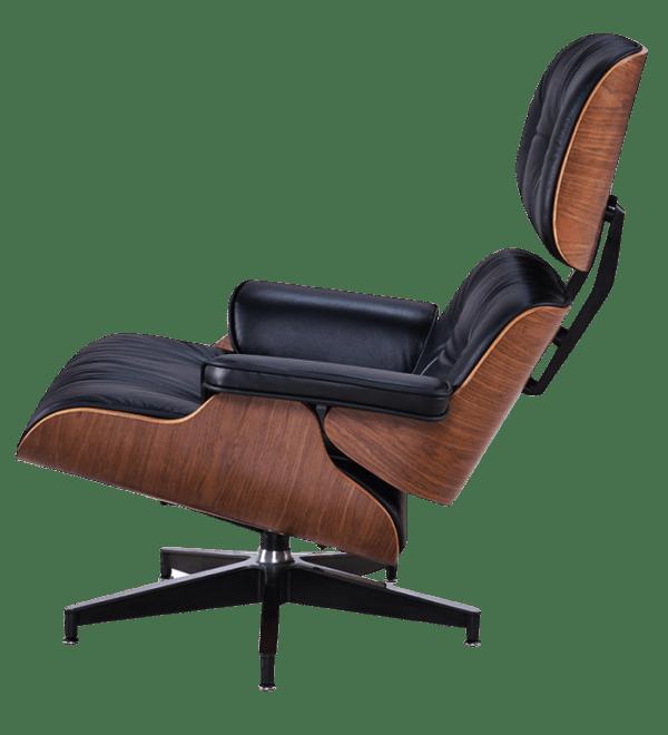 Eames Lounge Chair XL Zwart Leer, Walnoot Schalen
