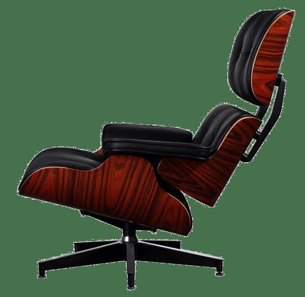 Eames Lounge Chair XL zwart leer Palissander schalen