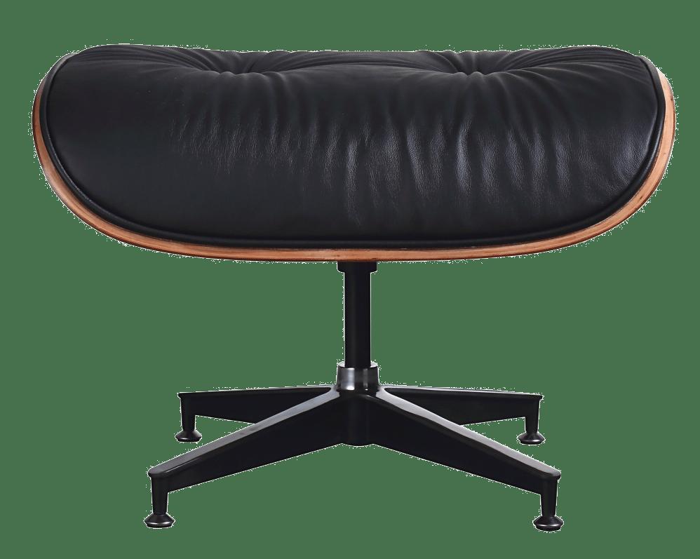 Eames Lounge Chair Ottoman / Hocker Zwart Leer, Palissander Schaal