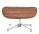Eames Lounge Chair Ottoman / Hocker Wit Leer, Walnoot Schaal