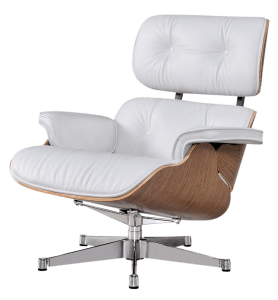 Eames Lounge Chair Wit Leer, Walnoot Schalen