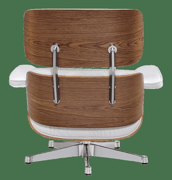 Eames Lounge Chair Wit Leer, Walnoot Schalen