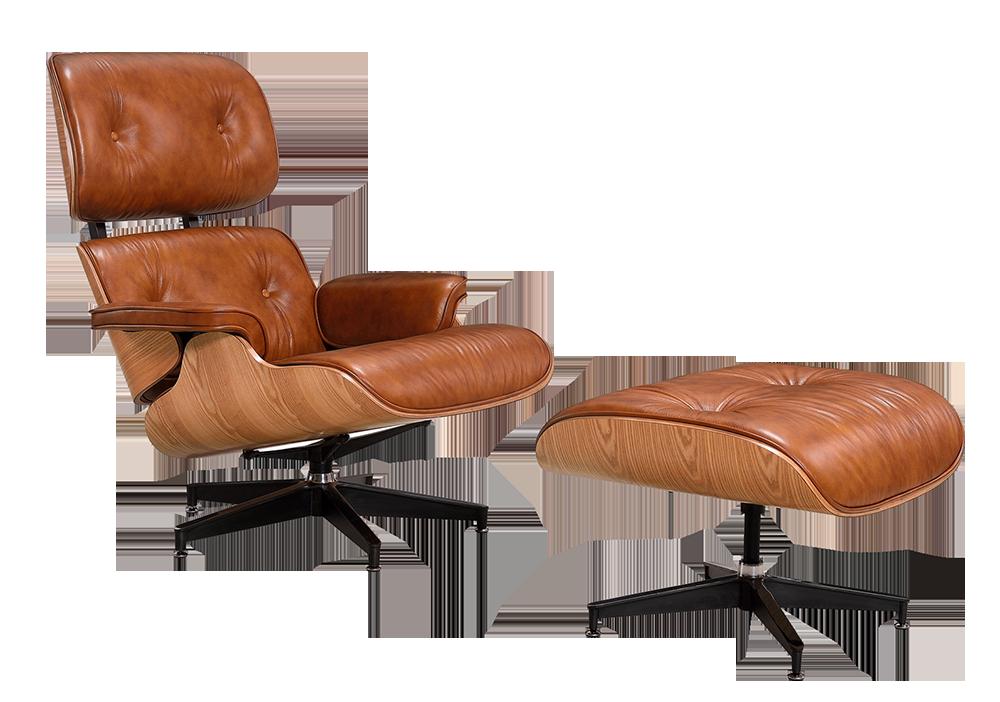 Eames Lounge Chair Xl Cognac Bruin Leer Essen Schalen Cavel Design
