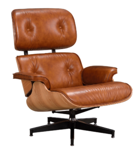 Eames Lounge Chair XL Cognac/Bruin Leer, Essen Schalen