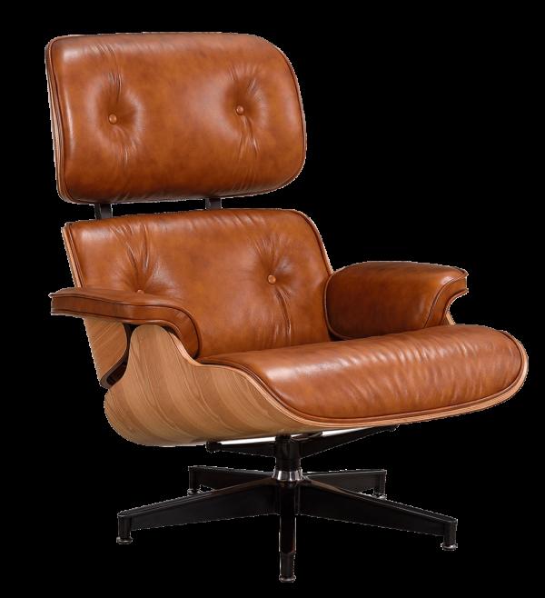 Eames Lounge Chair XL Cognac/Bruin Leer, Essen Schalen