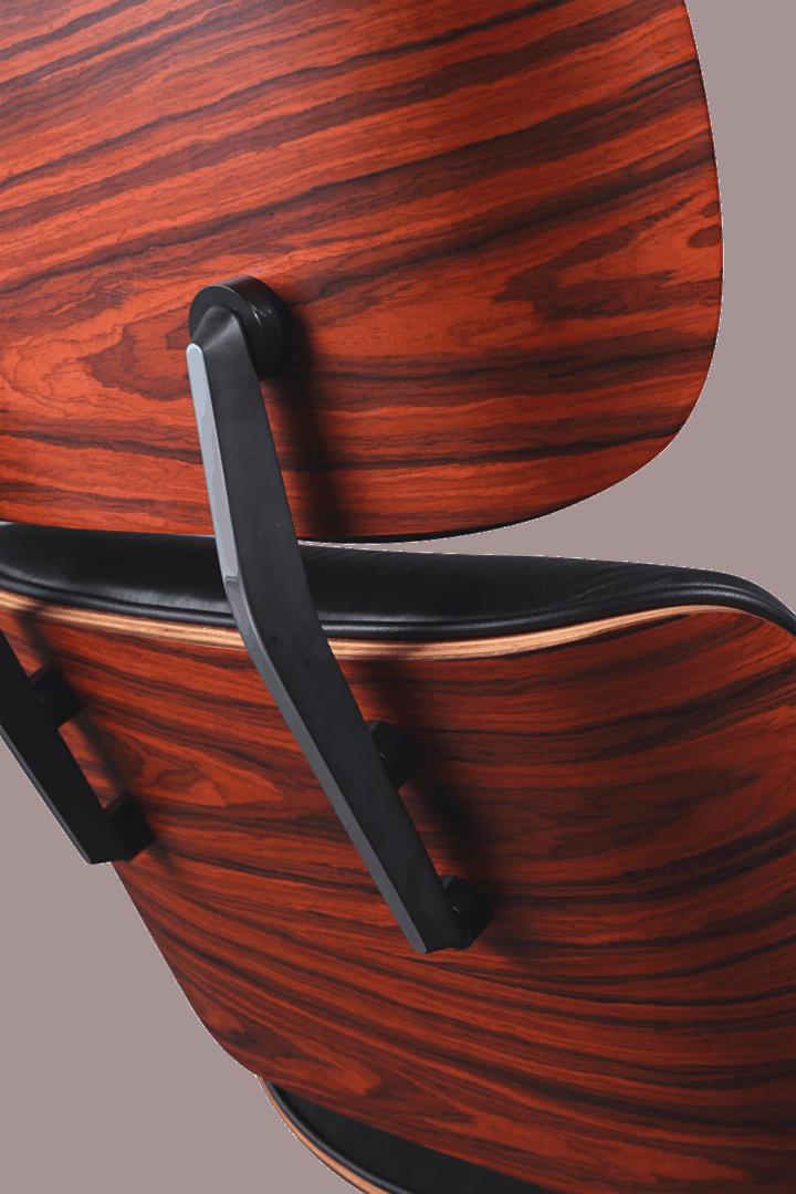 Eames Lounge Chair XL Zwart Leer, Palissander Schalen