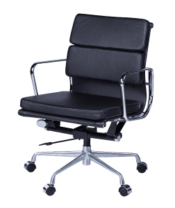 Eames EA 217 Softpad Bureaustoel Zwart Leer
