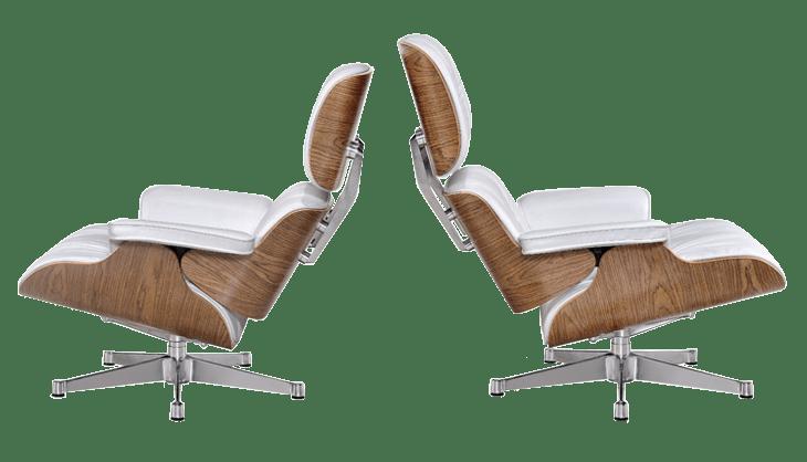 Eames Lounge Chair XL Wit Leer, Walnoot Schalen