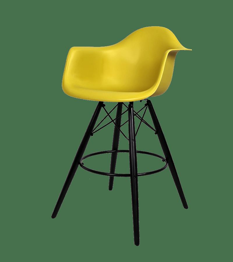 Eames DAW Barstool Black Base Okergold Seat