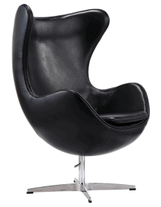 Egg Chair Zwart Leer