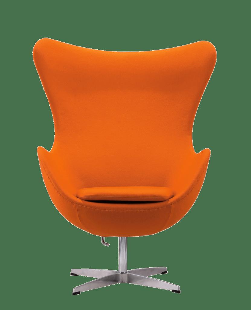 egg chair kasjmier oranje vooraanzicht