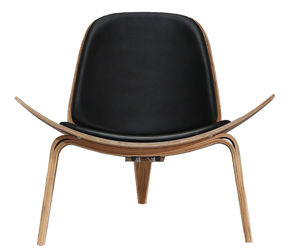 Hans wegner design shell chair zwart leer