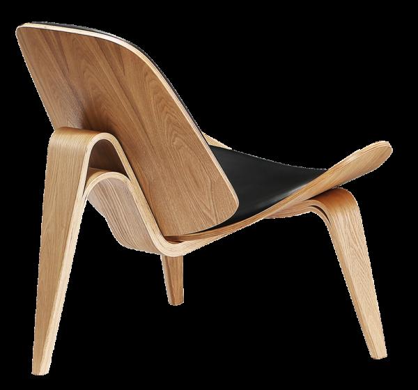Wegner Shell Chair Naturel Essen - Zwart Leer