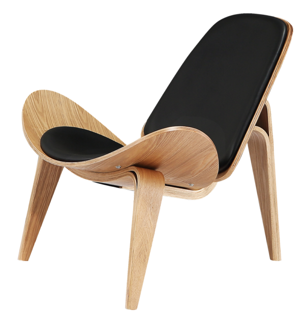 Wegner Shell Chair Naturel Essen - Zwart Leer