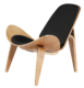 Wegner Shell Chair Zwart Essen - Wit Leer