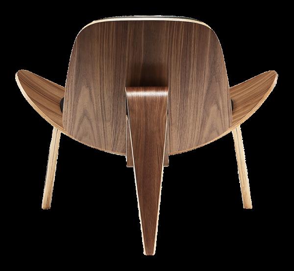 Wegner Shell Chair Walnoot - Zwart Leer