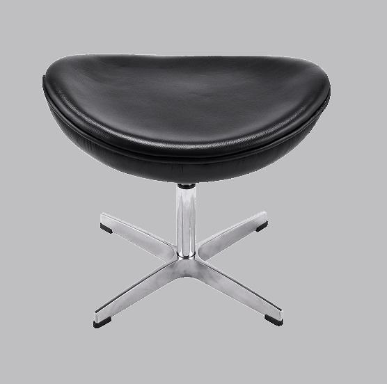 Egg Chair Ottoman / Hocker Zwart Leer