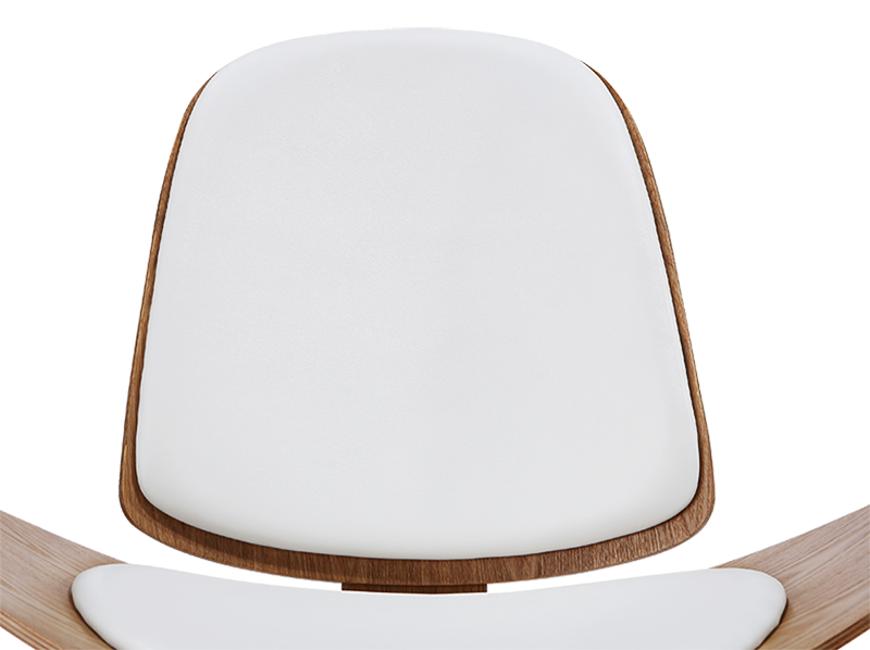 Wegner Shell Chair Naturel Essen – Wit Leer