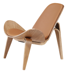 Wegner Shell Chair Naturel Essen – Caramel Leer