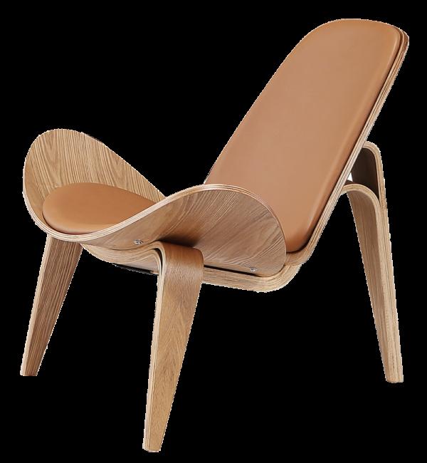 Wegner Shell Chair Naturel Essen - Caramel Leer