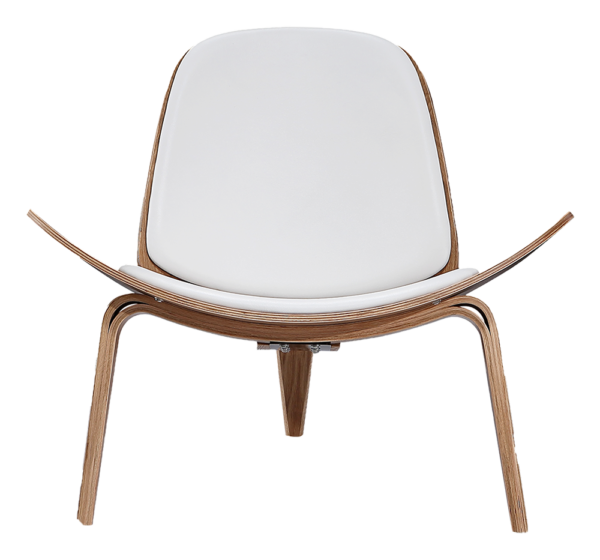 Wegner Shell Chair Naturel Essen - Wit Leer