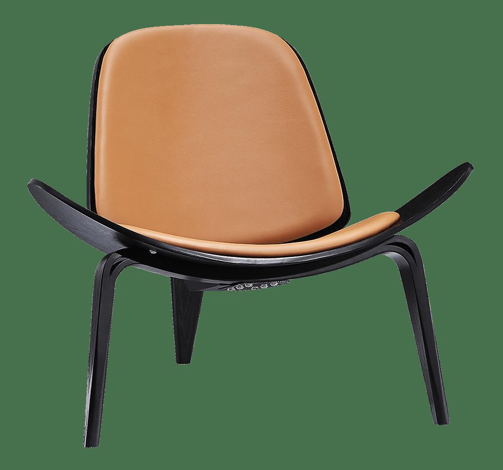 Wegner Shell Chair Zwart Essen – Caramel Leer