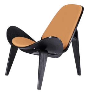 Wegner Shell Chair Zwart Essen – Caramel Leer