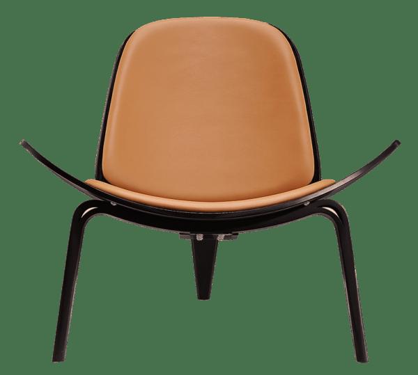 Wegner Shell Chair Zwart Essen - Caramel Leer