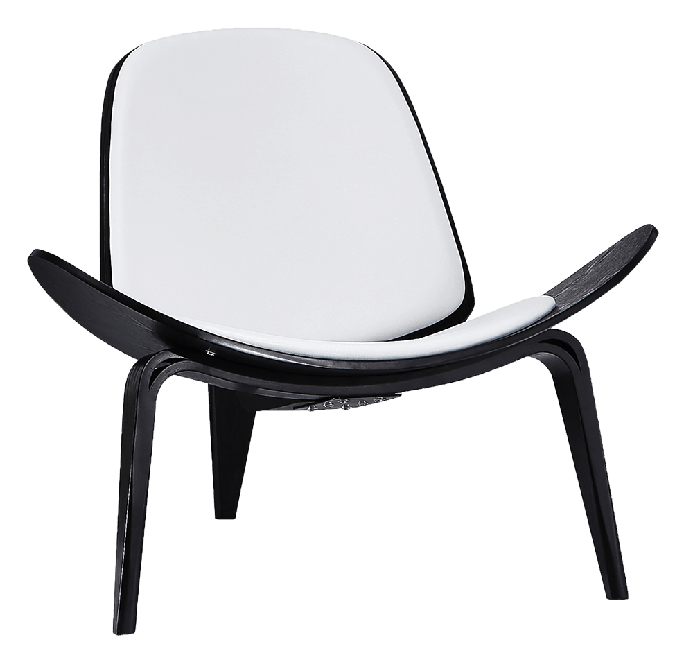 Wegner Shell Chair Zwart Essen – Wit Leer