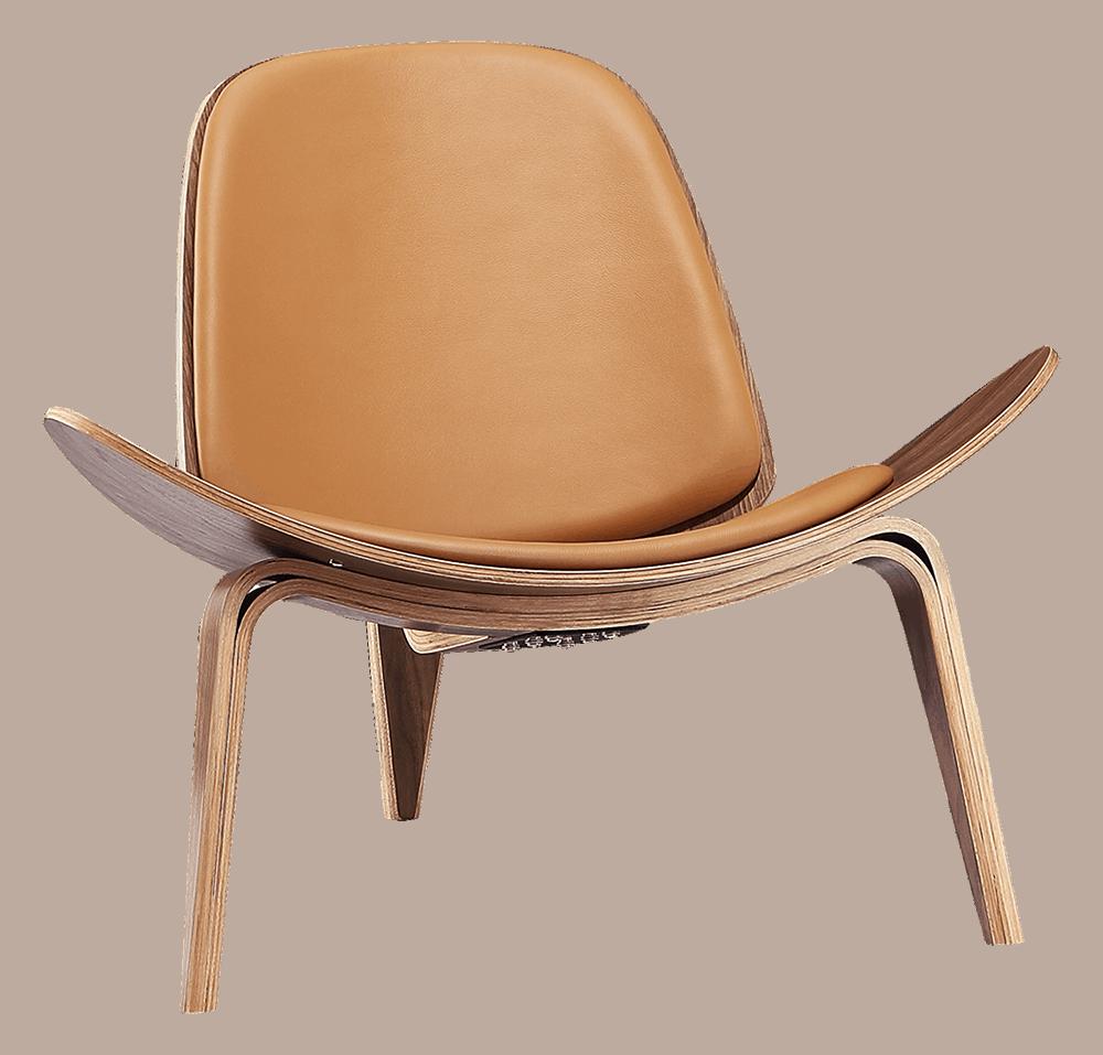 Wegner Shell Chair Walnoot – Caramel Leer