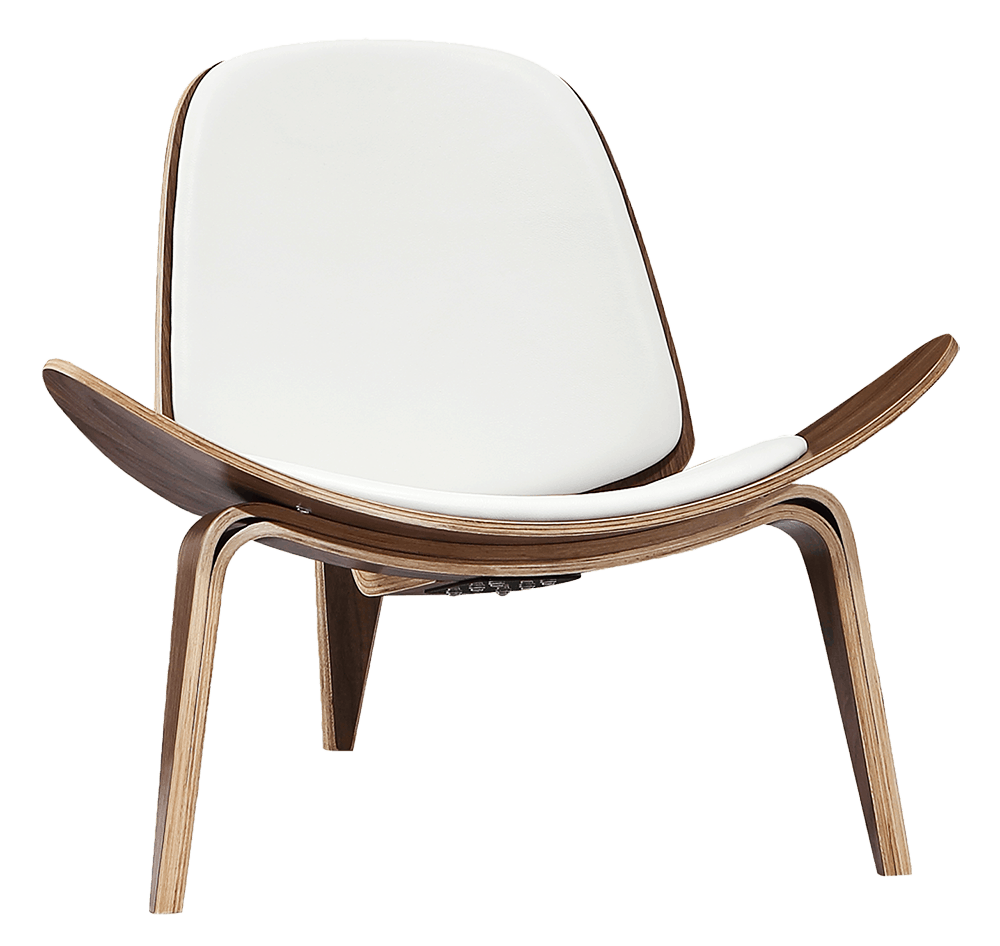 Wegner Shell Chair Walnoot – Wit Leer