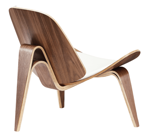 Wegner Shell Chair Walnoot - Wit Leer
