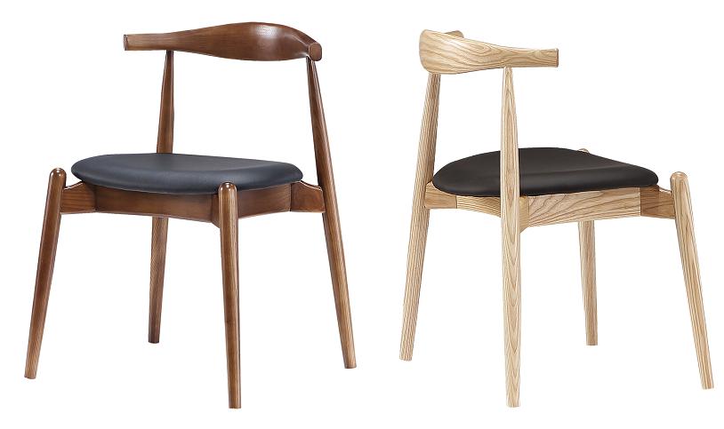 Elbow chair naturel essen en walnoothout door cavel design