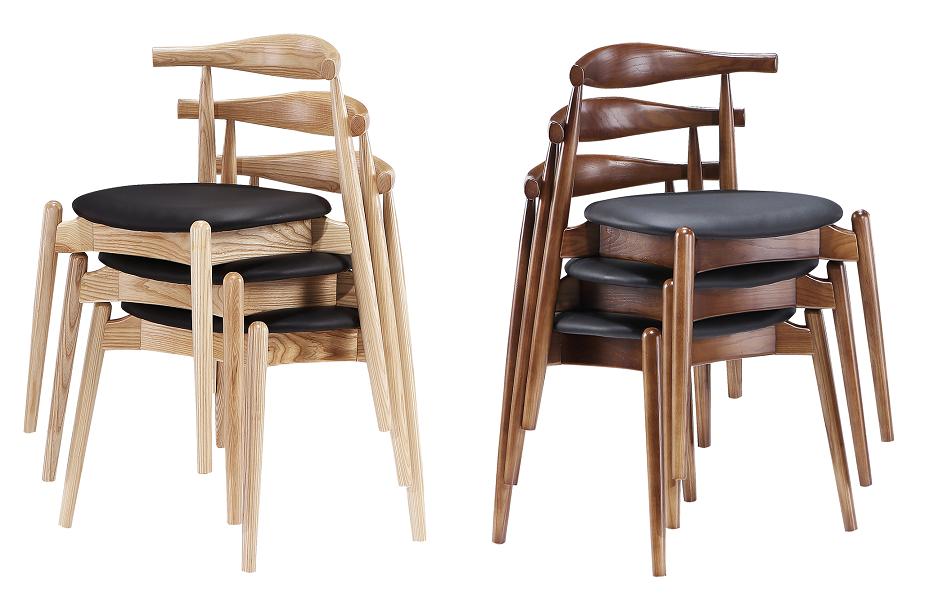 Elbow chair naturel essen en walnoothout stapelbaar door cavel design