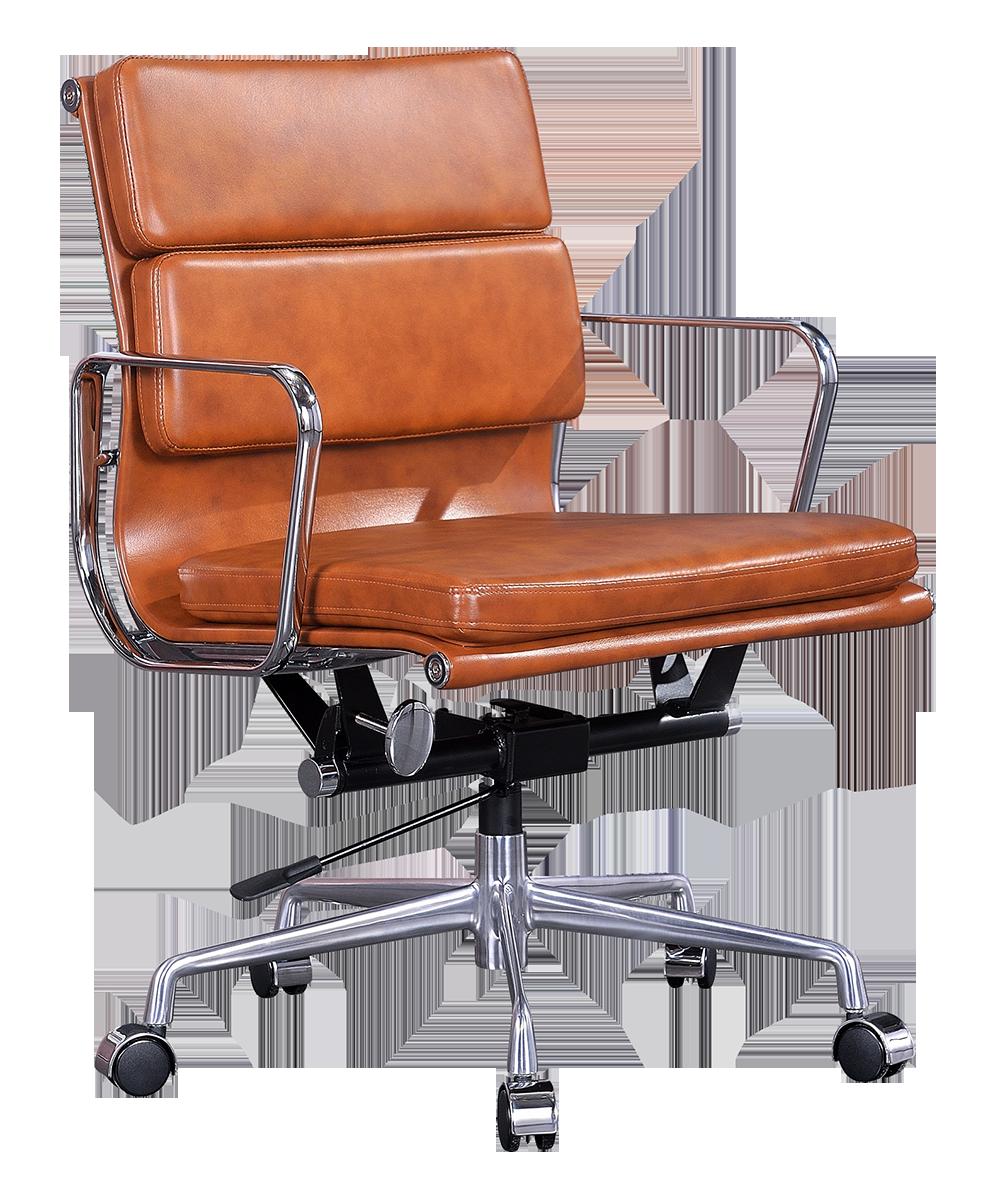 Eames EA 217 Softpad Bureaustoel Cognac Leer