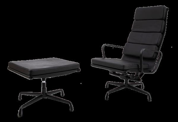 Eames EA 222 Softpad Lounge Chair + EA 223 Ottoman Full Black Edition