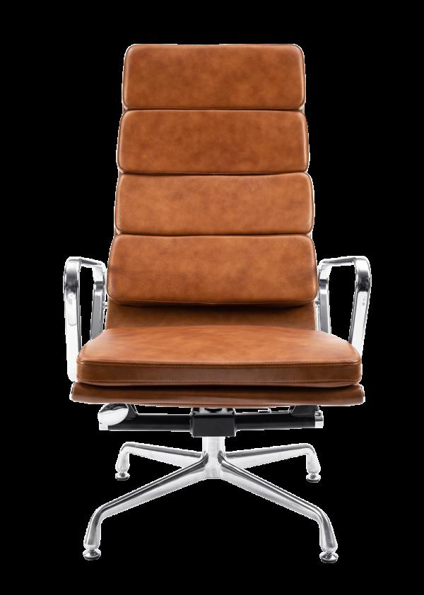 Eames EA 222 Softpad Lounge Chair + EA 223 Ottoman Cognac Leer